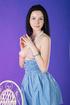 brunette girl blue dress