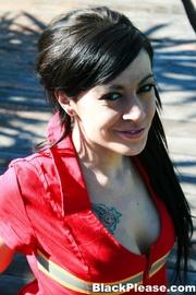red get-up brunette latina
