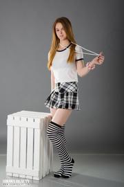 amateur blonde checkered skirt