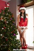 santa hat brunette showing