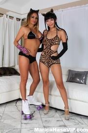 bodysuit-wearing cat-like girlfriends eating