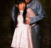 White dress Asian brunette captured in this dude's torture cellar