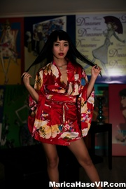 red get-up asian with