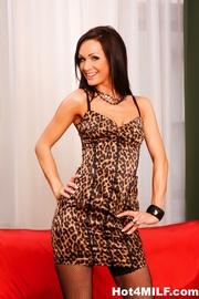 tight leopard-y dress brunette