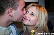 cheerful blonde housewife with