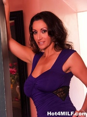 purple dress brunette milf