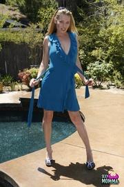 blonde milf blue dress