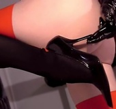 Yummy booty chick in black stockings and leather gloves teasing her shaved