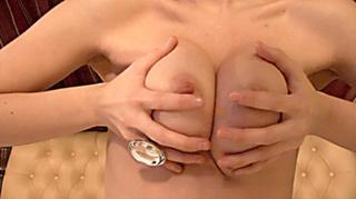 big breasted brunette wiggles