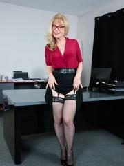 mature blonde black hose