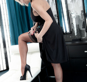 Black dress and black shoes blonde fingering her pussy