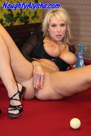 kinky blonde momma sits