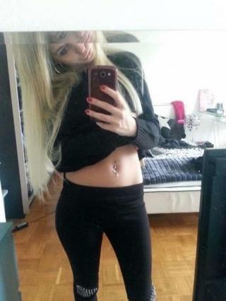 blonde tight black pants