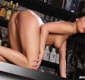 Black dress classy brunette gang-banged in the bar