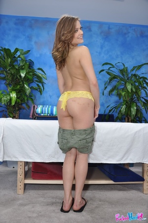 Brown haired hottie in yellow lingerie e - XXX Dessert - Picture 4