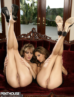 Indulging babes in black and in black and white lingerie and black high heels shows their sweet tits while they pose their foxy body before they get naked and expose their lusty twats in different positions on a red couch. - XXXonXXX - Pic 15