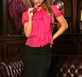 Foxy chick with glasses takes off her red purple blouse and black skirt