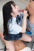 black-haired asian coed gives