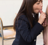 Innocent Asian cutie swallows sperm of her lovely teacher