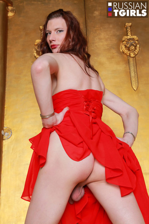 Beauty in long red dress jerks off her hard prick - XXXonXXX - Pic 2