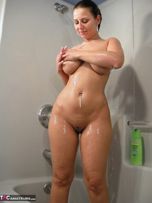 Brunette milf with huge melons taking a shower and rubbing her itchy twat - XXXonXXX - Pic 7