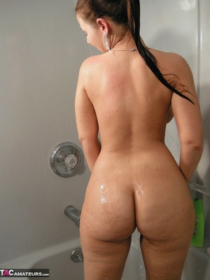 Brunette milf with huge melons taking a shower and rubbing her itchy twat - XXXonXXX - Pic 9