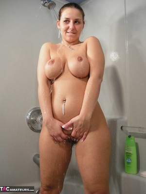 Brunette milf with huge melons taking a shower and rubbing her itchy twat - XXXonXXX - Pic 10