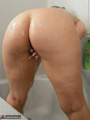 Brunette milf with huge melons taking a shower and rubbing her itchy twat - XXXonXXX - Pic 18