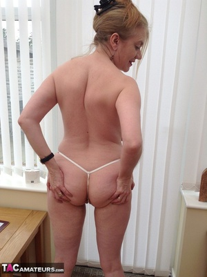 Big breasted granny wiggles out of white dress and panty to expose her shaved twat - XXXonXXX - Pic 12