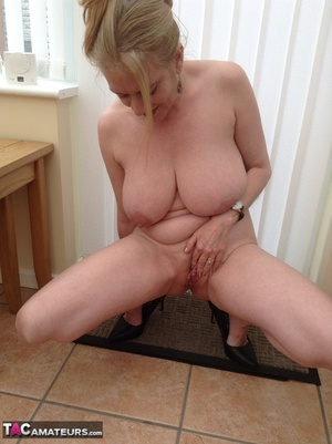 Big breasted granny wiggles out of white dress and panty to expose her shaved twat - XXXonXXX - Pic 14