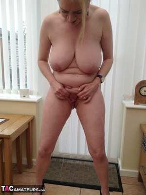 Big breasted granny wiggles out of white dress and panty to expose her shaved twat - XXXonXXX - Pic 15