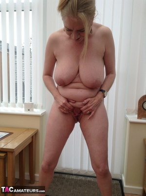 Big breasted granny wiggles out of white dress and panty to expose her shaved twat - XXXonXXX - Pic 16