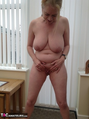 Big breasted granny wiggles out of white dress and panty to expose her shaved twat - XXXonXXX - Pic 17