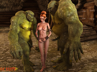 Redhead beauty and two green giants have a 3some - Picture 3