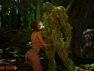 Slender brunette gets hardly impaled by the tree - Picture 2