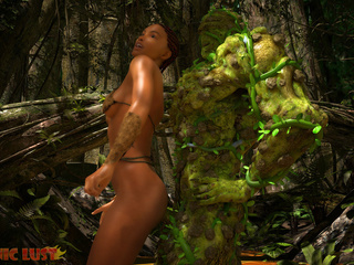 Slender brunette gets hardly impaled by the tree - Picture 3