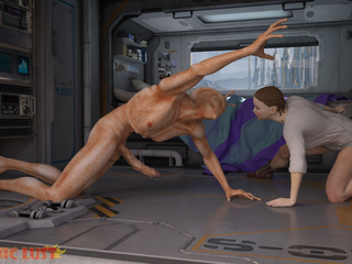 Brutal sex on the starship with a hot busty brunette - Picture 1