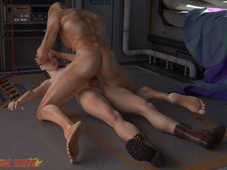 Brutal sex on the starship with a hot busty brunette - Picture 2