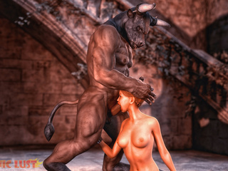 Muscled big-boobed slut rides a satanic sausage - Picture 5