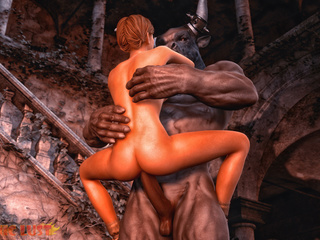 Muscled big-boobed slut rides a satanic sausage - Picture 6