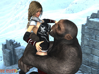 Crazy big monkey bangs a big-boobed brunette in - Picture 3