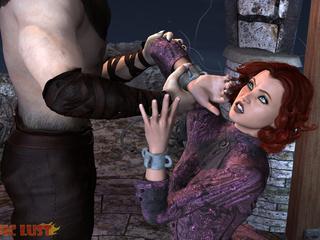 Semi-wolf semi-man treats a busty redhead bitch - Picture 2