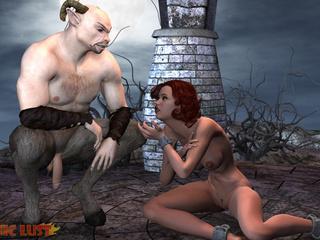 Semi-wolf semi-man treats a busty redhead bitch - Picture 6