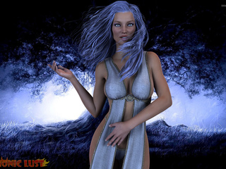 Blue-haired goddess is sucking in the blue forest - Picture 1