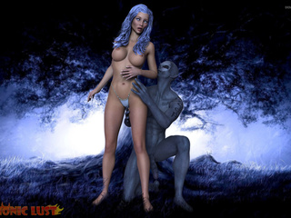 Blue-haired goddess is sucking in the blue forest - Picture 3