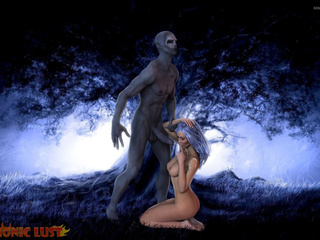 Blue-haired goddess is sucking in the blue forest - Picture 6