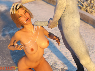 Busty blonde eats fresh cum right on the snow - Picture 4