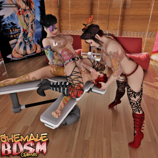 Filthy tattooed shemales bangs a redhead in tattoo - Picture 2