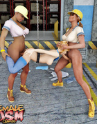 Shemales double penetrated a pigtailed 3D cutie