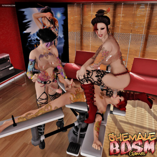 Nasty transsexual sex in the tattoo saloon - Picture 2